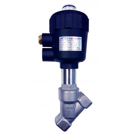 Vana control fluide unghiulara din inox SUS304 apa/aer/ulei/ actionare pneumatica